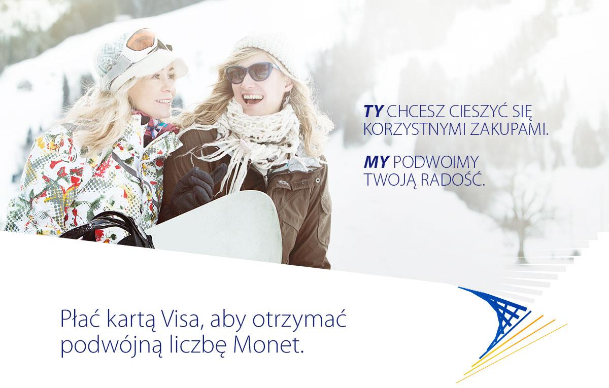 Płać kartą Visa, aby otrzymać  podwójną liczbę Monet