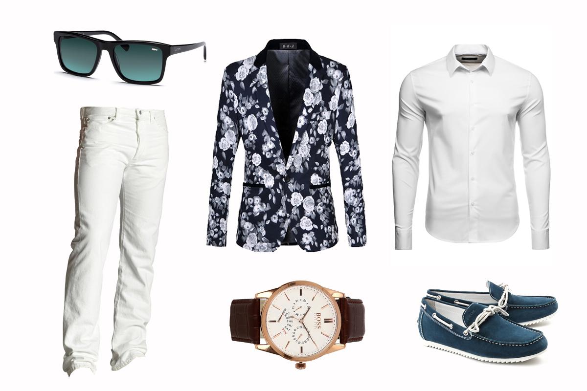 4256a63e66342 Okulary przeciwsłoneczne Biała koszula Marynarka w kwiaty Białe jeansy  Zegarek na skórzanym pasku Granatowe mokasyny