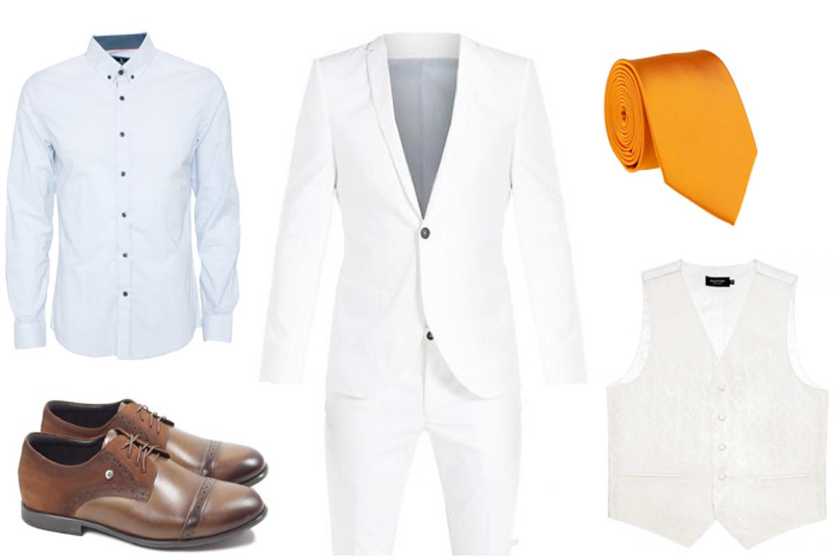 6faf09bae8040 Szeroki krawat Błękitna koszula w groszki Biały garnitur Biała kamizelka  Brogsy