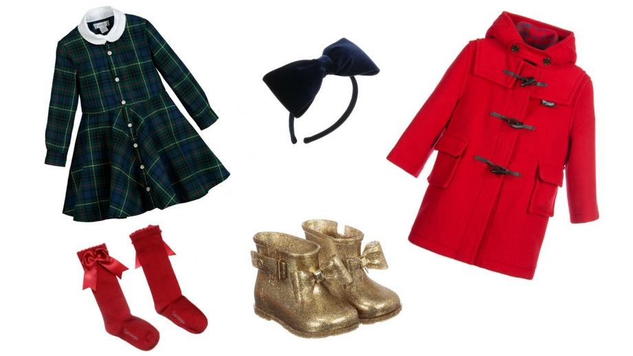 ca0cdda339 sukienka w kratkę czerwone skarpetki złote botki granatowa opaska czerwony  płaszcz